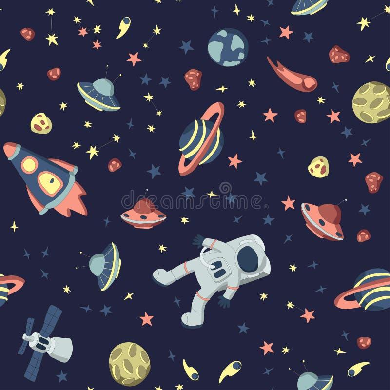 Naadloos patroon op het thema van ruimte Astronaut in open kosmos, ruimteschepen en een reeks diverse planeten, sterren en stock illustratie