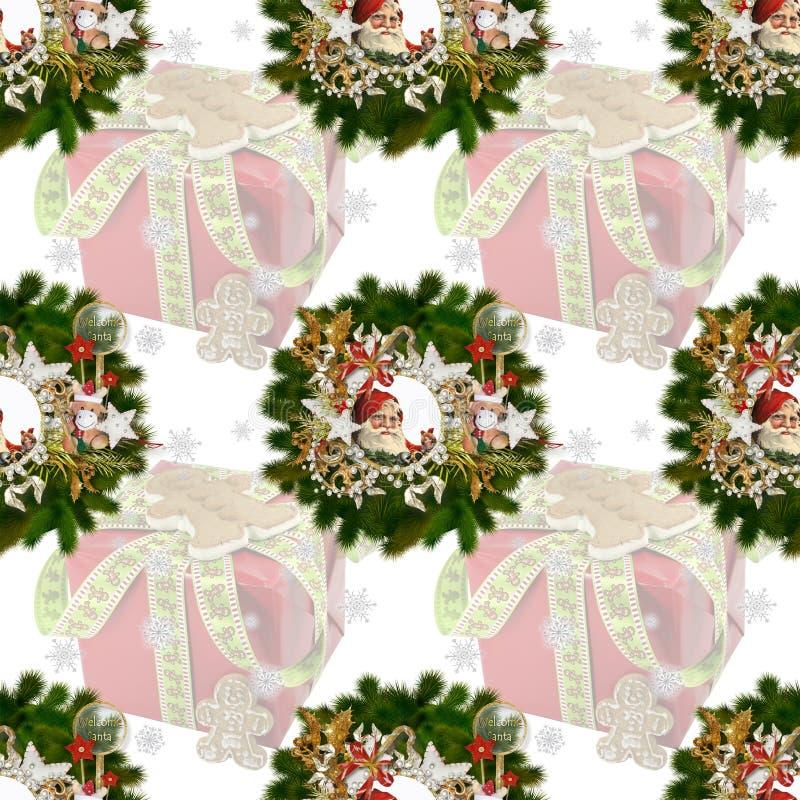 Naadloos patroon op Kerstmis thema-4 stock illustratie