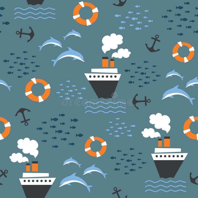 Naadloos patroon op marien thema royalty-vrije illustratie