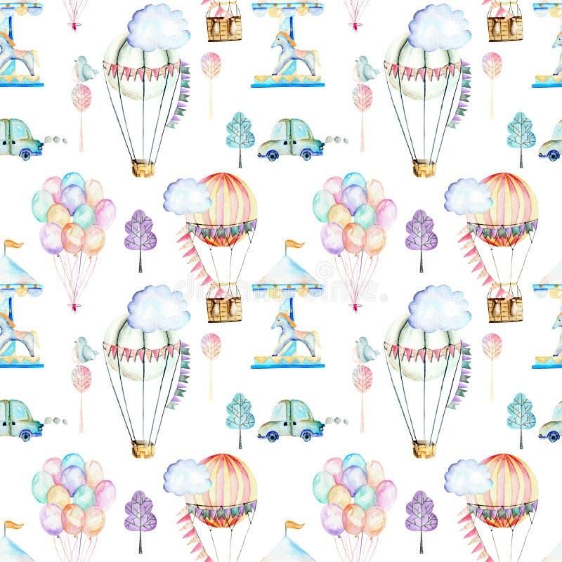 Naadloos patroon op weekendthema; de ballons, de aerostaten, de carrousel en de auto's van de waterverflucht vector illustratie