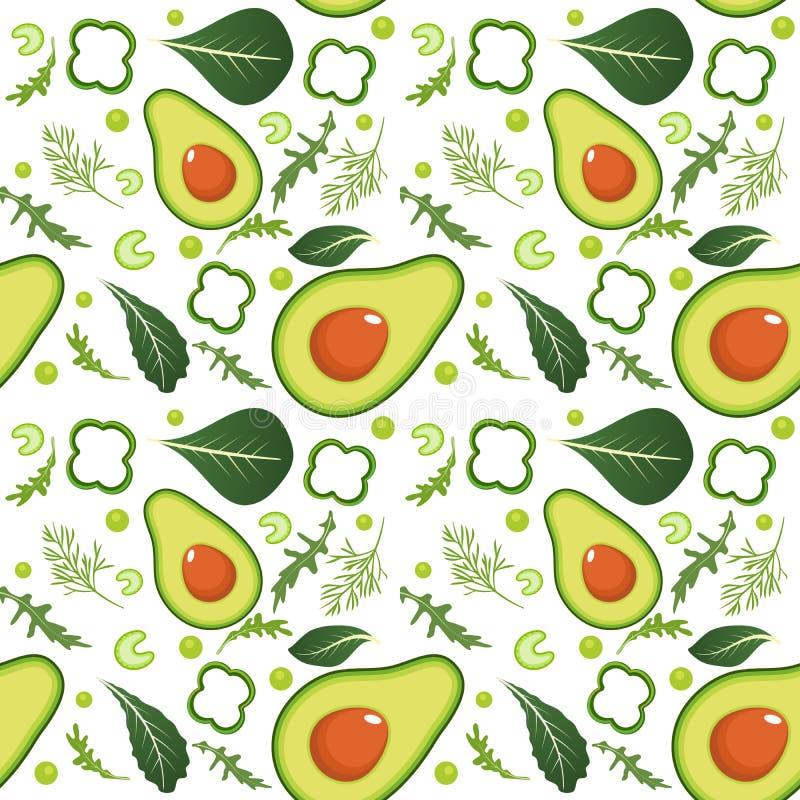 Naadloos patroon op witte achtergrond met groene groenten Avocado, paprika, groene erwten, selderie, spinazie, arugula en royalty-vrije illustratie