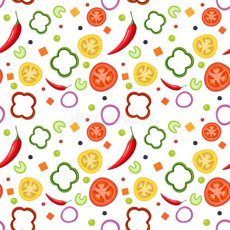 Naadloos patroon op witte achtergrond met groenten Rode en gele tomaten, paprika, hete peper, uien, groene erwten stock illustratie