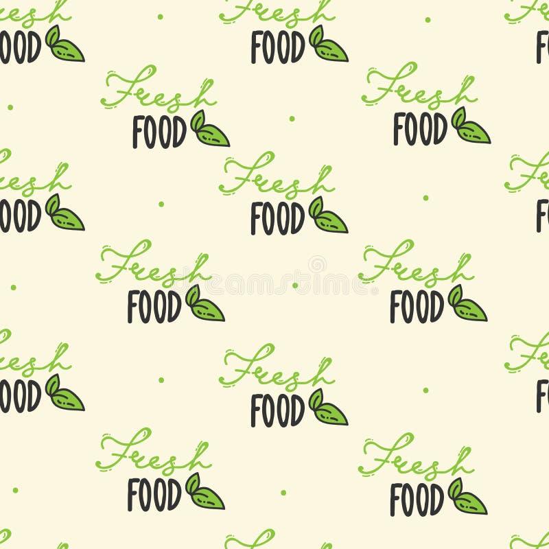 Naadloos patroon organische getrokken hand Het verse Voedsel Van letters voorzien Vegetariër, 100 natuurvoeding, biologisch produ vector illustratie