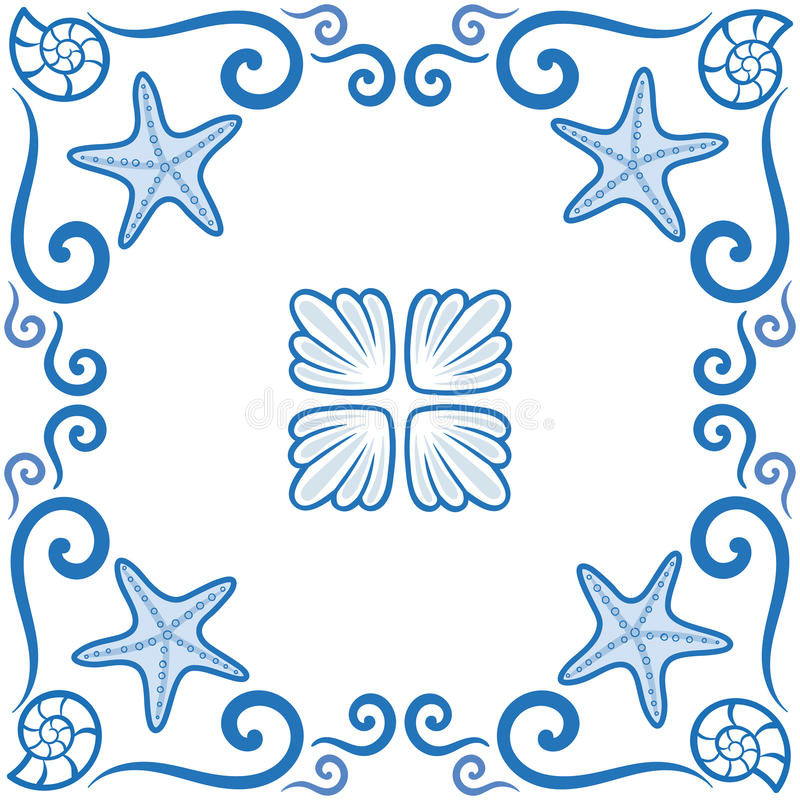 Naadloos patroon Overladen azulejo gestileerde tegels met kustthema Zeester en shells Marien thema in blauwe kleur Vectorillustra stock illustratie