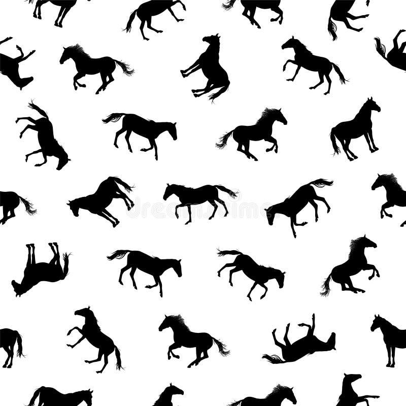 Naadloos patroon - paardsilhouetten stock illustratie