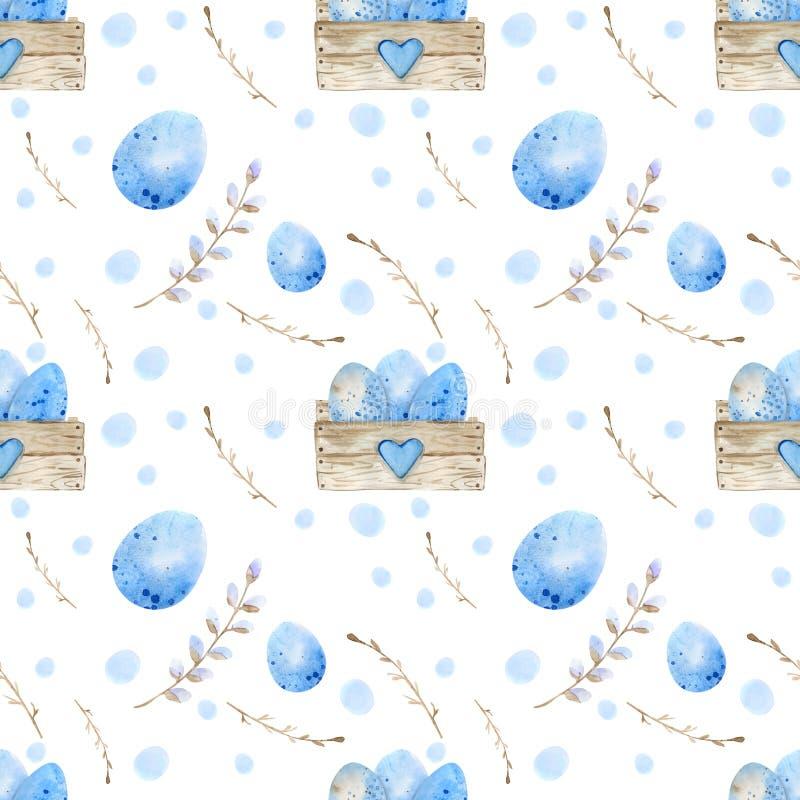 Naadloos patroon Paaseieren, blauwe waterverfeieren, gespikkeld wit als achtergrond stock illustratie