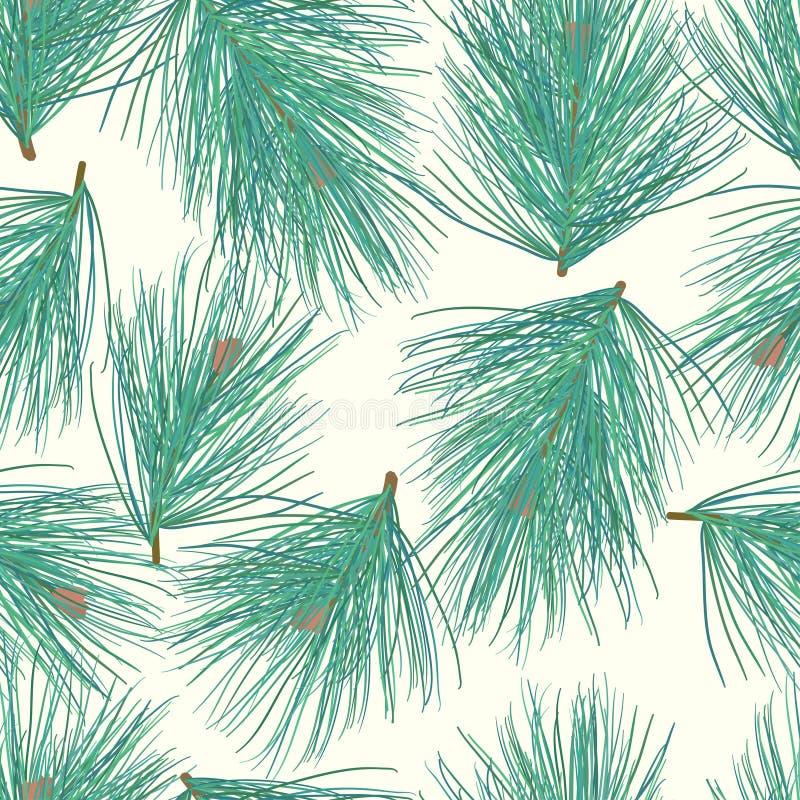 Naadloos patroon pijnboom-boom vector als achtergrond vector illustratie