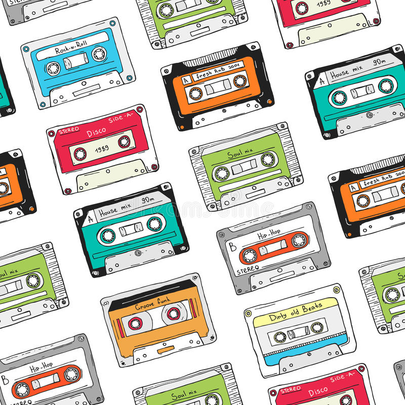 Naadloos patroon, plastic cassette, audioband met verschillende muziek Hand getrokken kleurrijke achtergrond, retro stijl stock illustratie