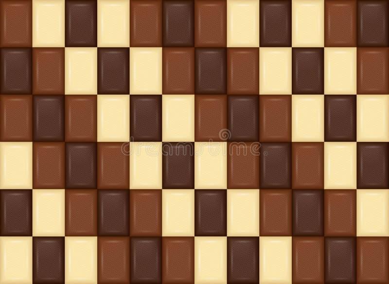 Naadloos patroon Realistische chocoladereepstukken Melk, Dark, Wh stock illustratie