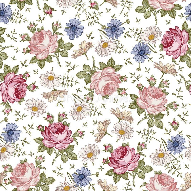 Naadloos patroon Realistische geïsoleerde bloemen Uitstekende barokke achtergrond De kamille nam toe behang Tekeningsgravure stock illustratie