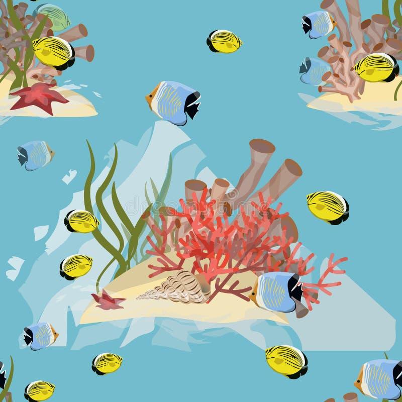 Naadloos patroon Realistische onderwaterwereld Tropische vissen, koralen, algen en zeester stock illustratie