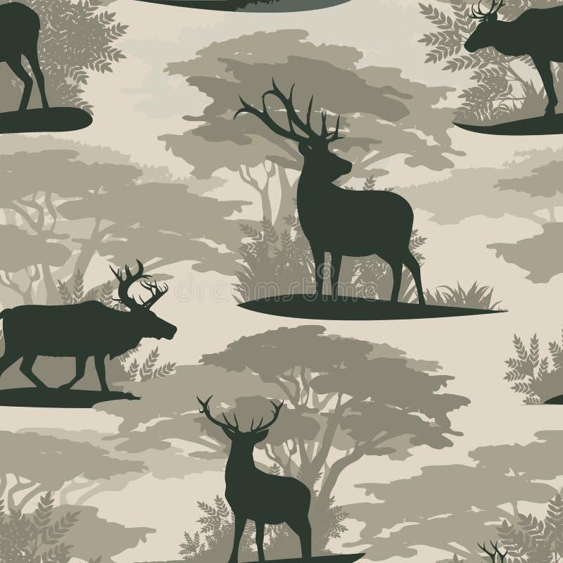 Naadloos patroon Rendier van silhouetten het Wilde herten in bos royalty-vrije illustratie