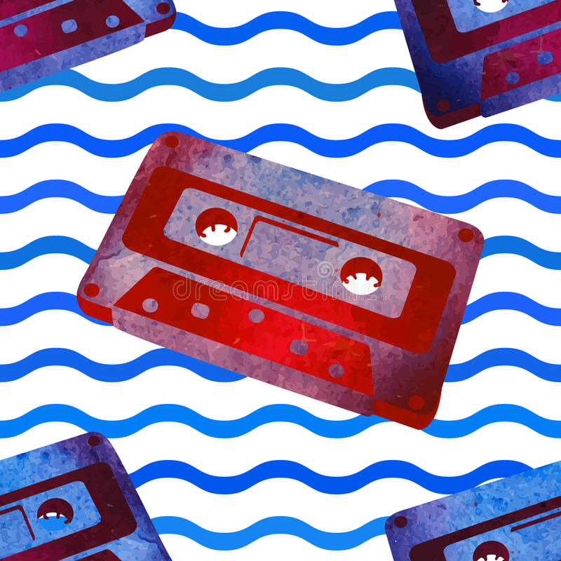 Naadloos patroon - retro waterverfaudiocassette royalty-vrije stock foto