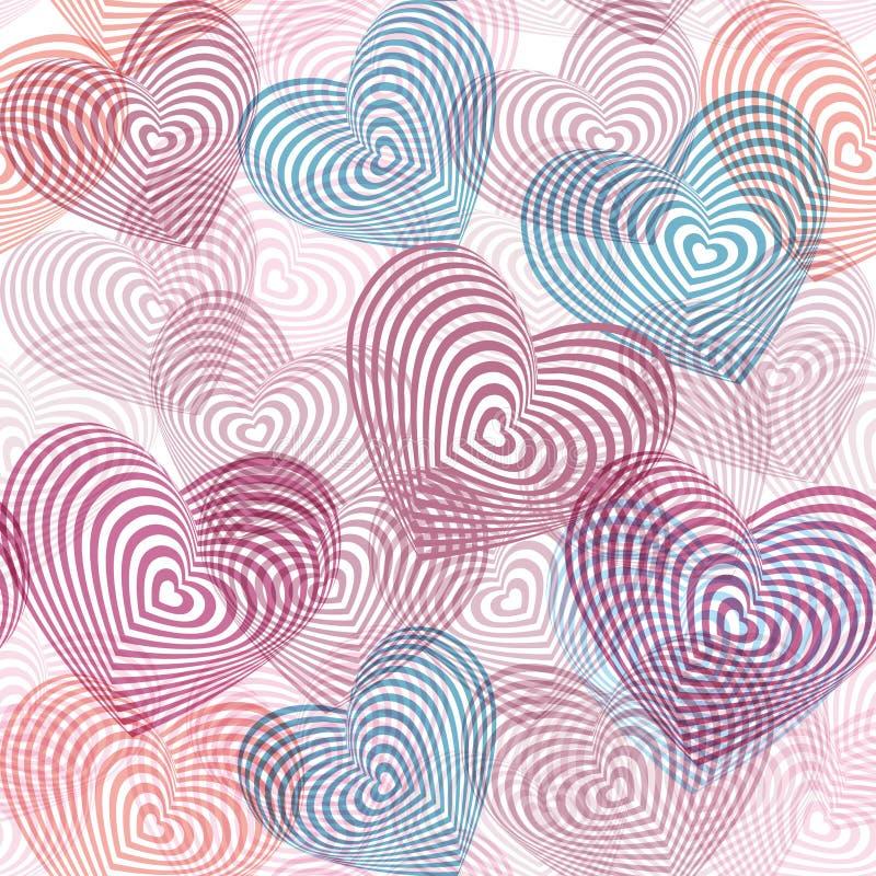 Naadloos patroon roze blauw purper wit hart op witte achtergrond Optische illusie van 3D driedimensioneel volume Geometrische abs royalty-vrije illustratie