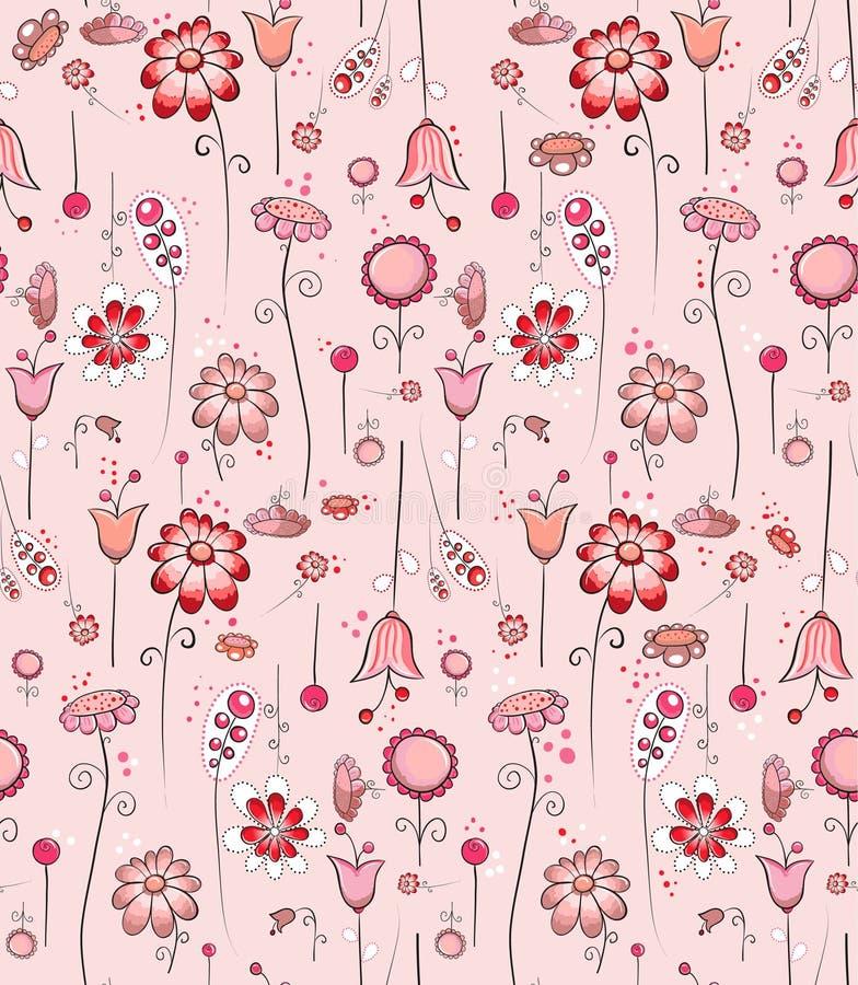 Naadloos patroon - Roze bloemen vector illustratie