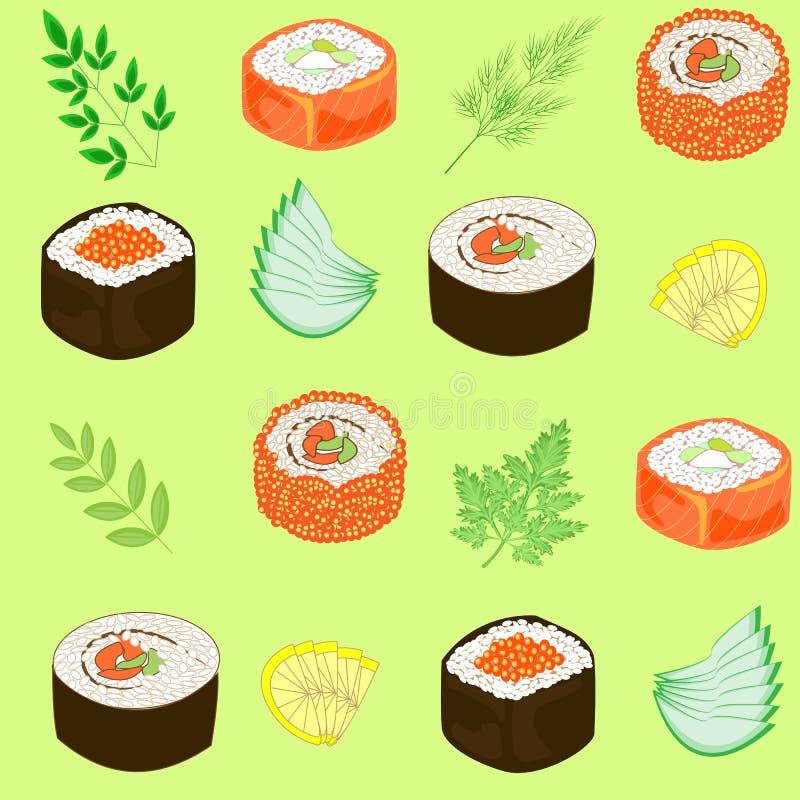 Naadloos patroon Schotels van nationale Japanse keuken, sushi, broodjes, vissen Geschikt als behang in de keuken, voor verpakking stock illustratie