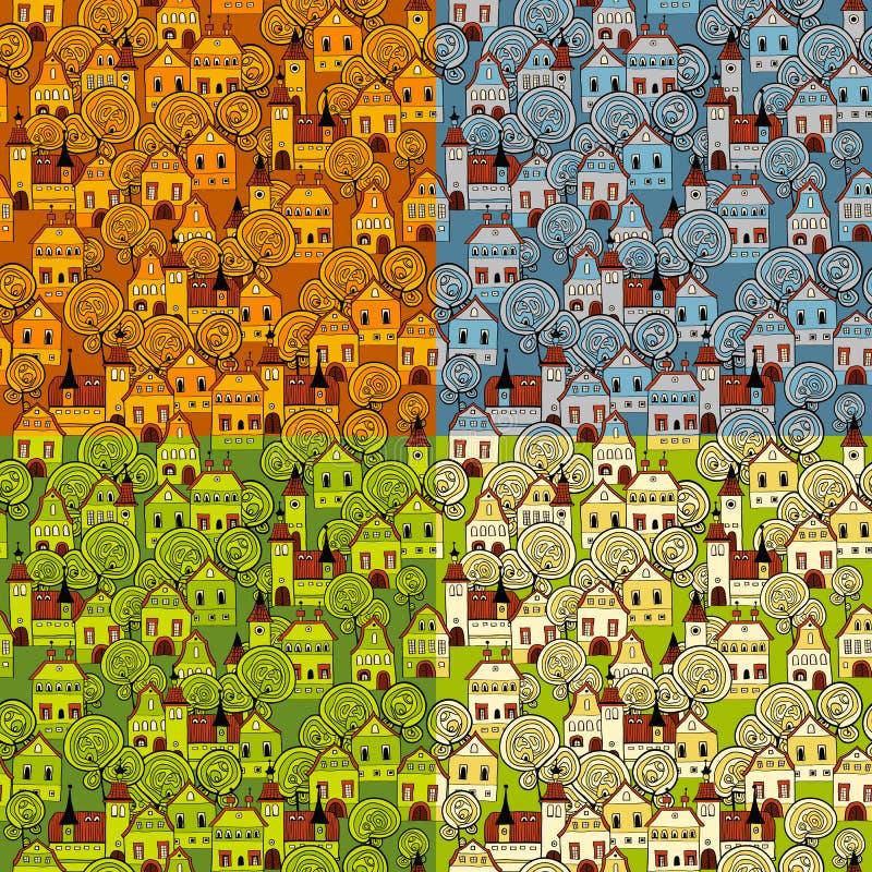 Naadloos patroon 4 seizoenen in de stad royalty-vrije illustratie
