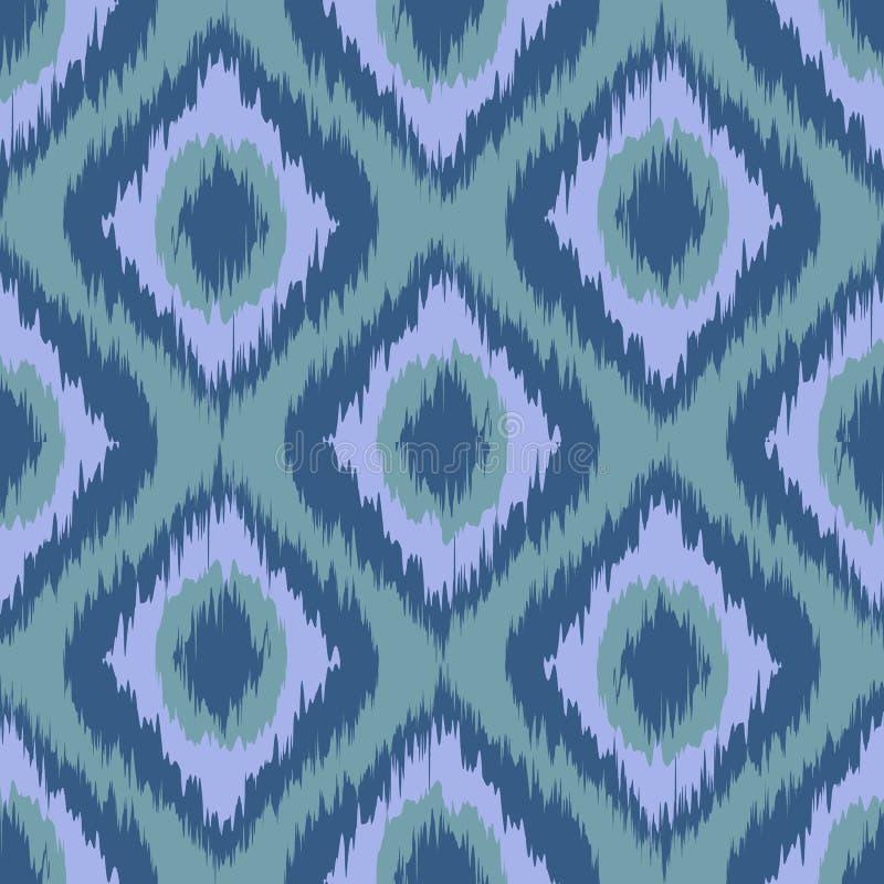 Naadloos patroon Stammenart ikat ogee in traditionele klassieke blauwe en violette grijze kleurenvector vector illustratie