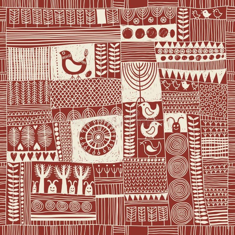 Naadloos patroon in stijl van lapwerk stock illustratie