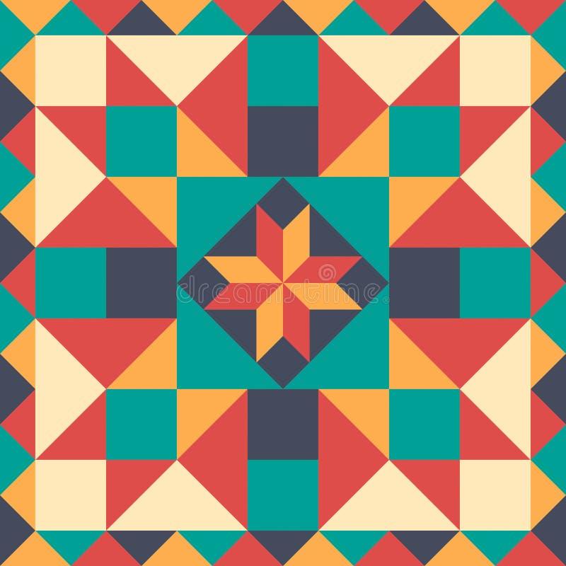 Naadloos patroon in stijl van lapwerk, vector royalty-vrije illustratie