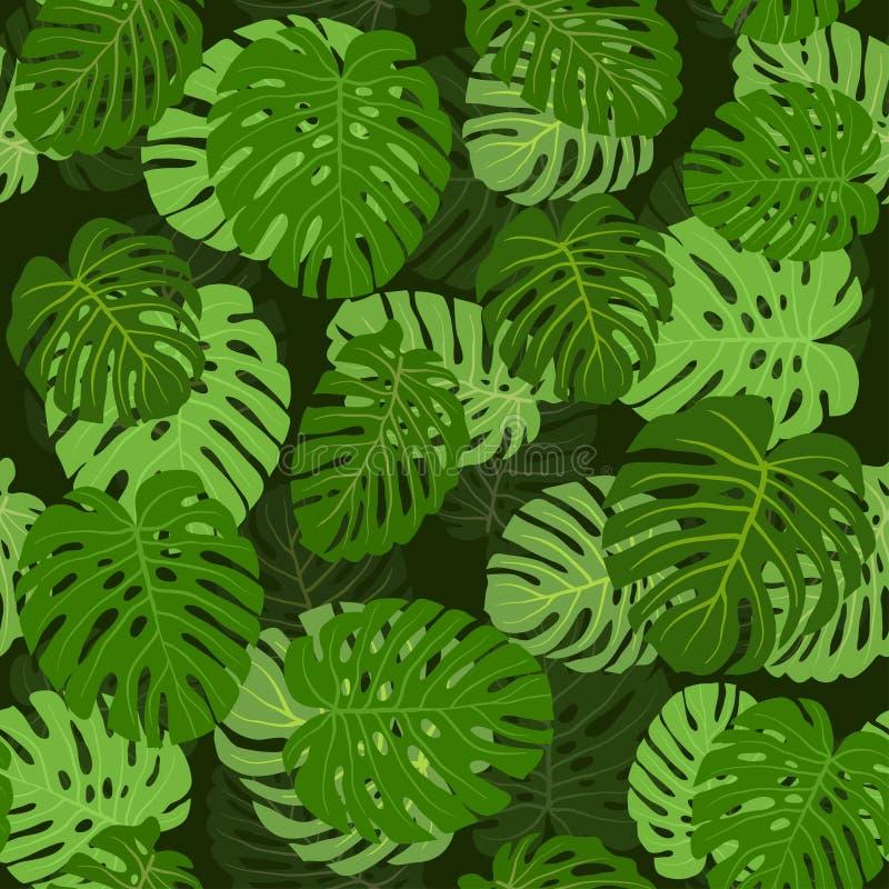 Doorbladert palm naadloos patroon stock illustratie