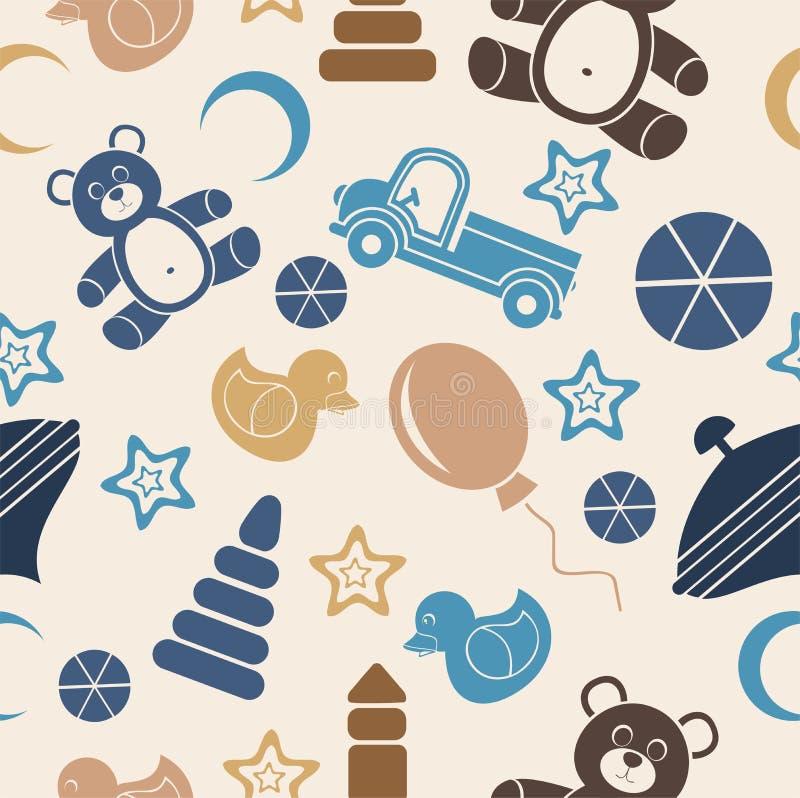 Naadloos patroon, stuk speelgoed voor jonge geitjes op een beige achtergrond royalty-vrije stock afbeelding