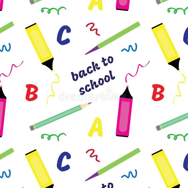Naadloos patroon terug naar school De levering van de school vector illustratie