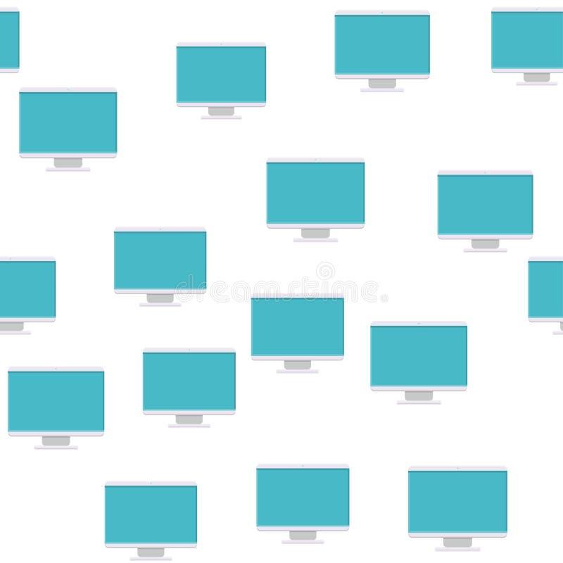 Naadloos patroon, textuur van moderne digitale rechthoekige lcd vloeibare LEIDENE van het kristalijs ips frameless monitors met g royalty-vrije illustratie