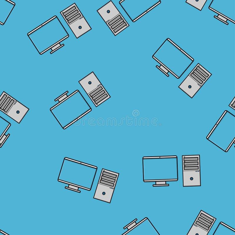 Naadloos patroon, textuur van moderne krachtige digitale bureaucomputers met een monitor en een rechthoekige systeemeenheid, tech vector illustratie