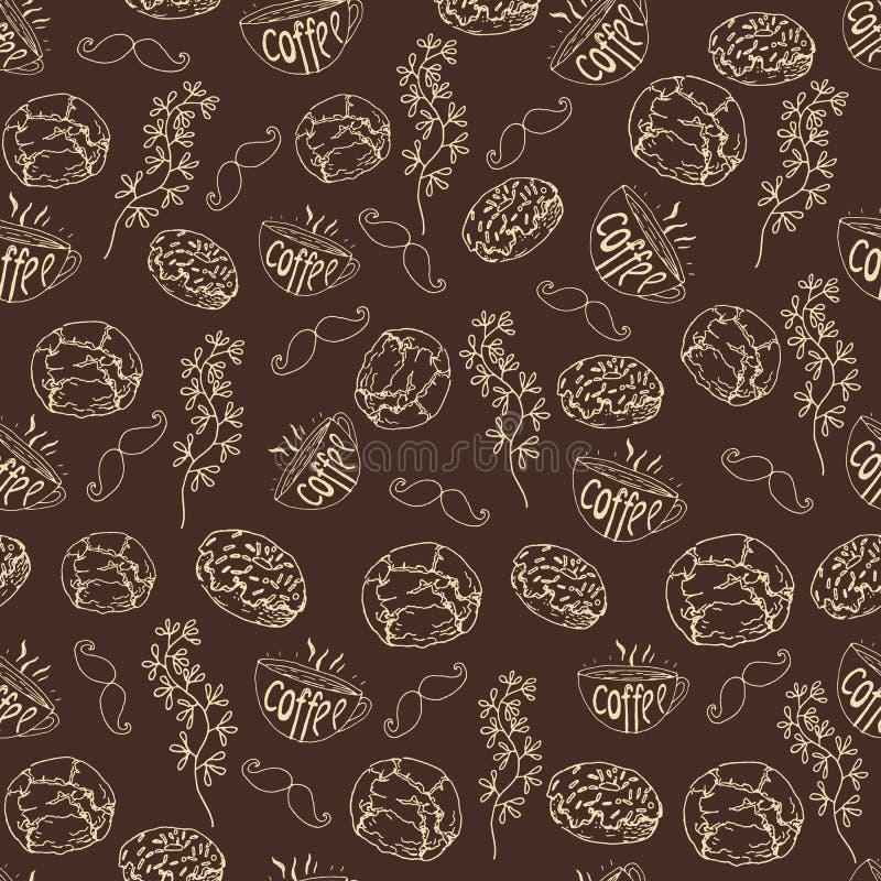 Naadloos patroon, tijd, koffie, hand-drawn elementen royalty-vrije illustratie