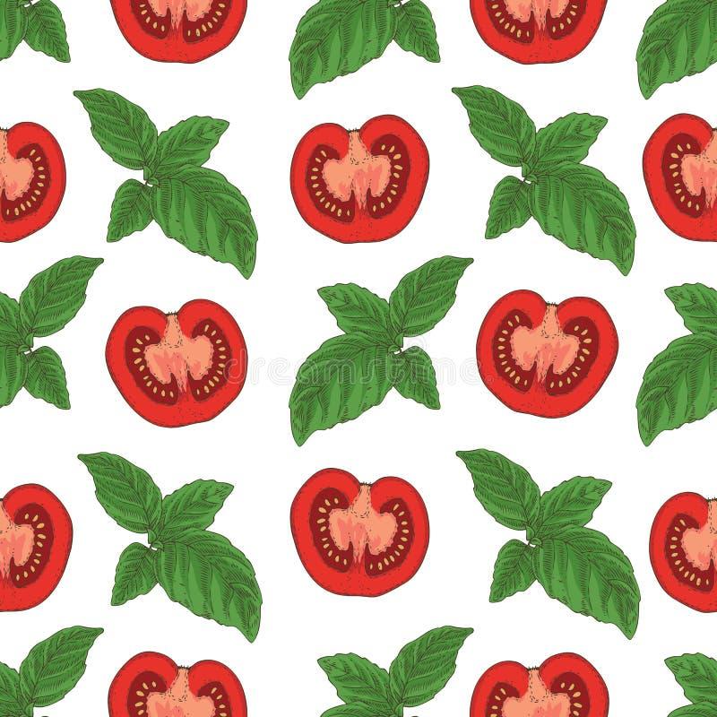 Naadloos patroon Tomaten en basilicum royalty-vrije illustratie