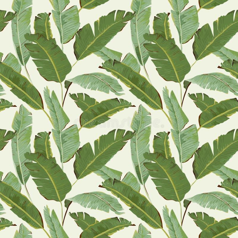 Naadloos patroon Tropische palmbladenachtergrond Banaanbladeren royalty-vrije illustratie