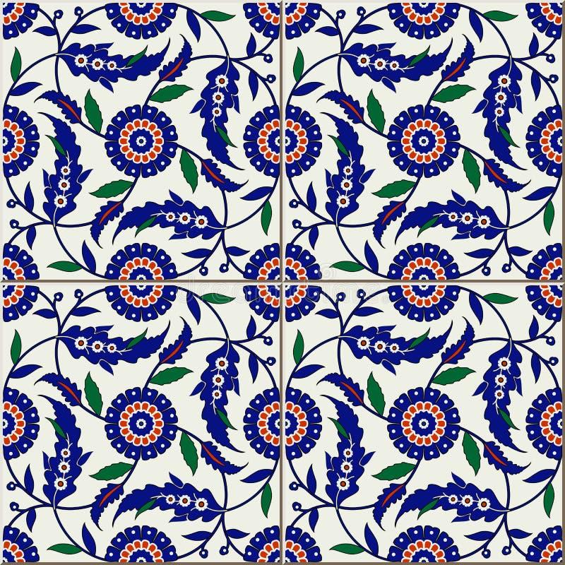 Naadloos patroon Turkse, Marokkaanse, Portugese tegels, Azulejo, ornamenten Islamitisch art stock illustratie
