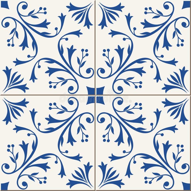 Naadloos patroon Turkse, Marokkaanse, Portugese tegels, Azulejo, ornamenten Islamitisch art vector illustratie