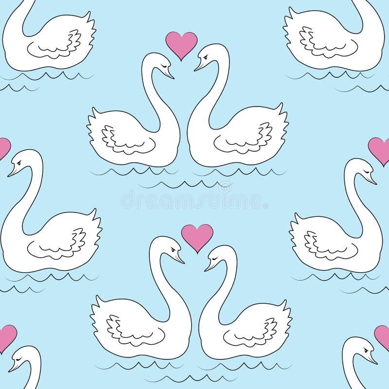 Naadloos patroon Twee witte zwanen De vogels in liefde zwemmen in het water De zon in de vorm van het hart Romantische Liefde Voo royalty-vrije illustratie