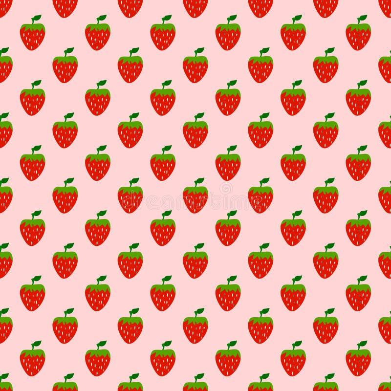 Naadloos patroon van aardbeiachtergrond, Vectorillustratie vector illustratie