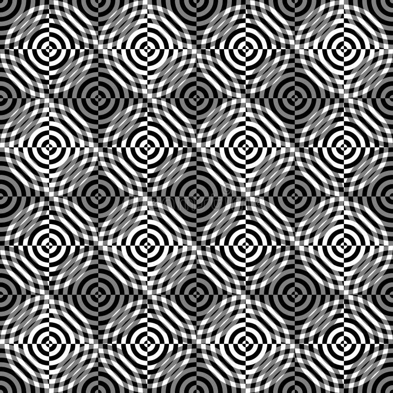 Naadloos patroon van abstracte cirkels op een zwarte achtergrond royalty-vrije illustratie