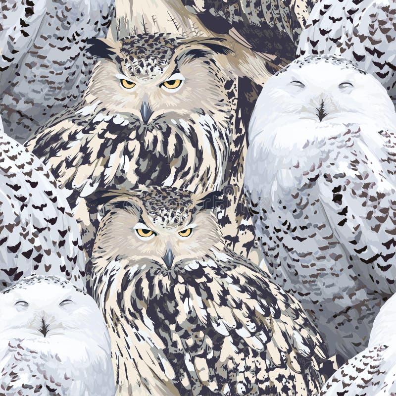 Naadloos patroon van adelaarsuil en polaire uil stock illustratie