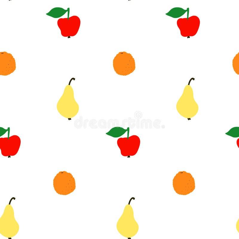 Naadloos patroon van appel, peer en sinaasappel stock illustratie