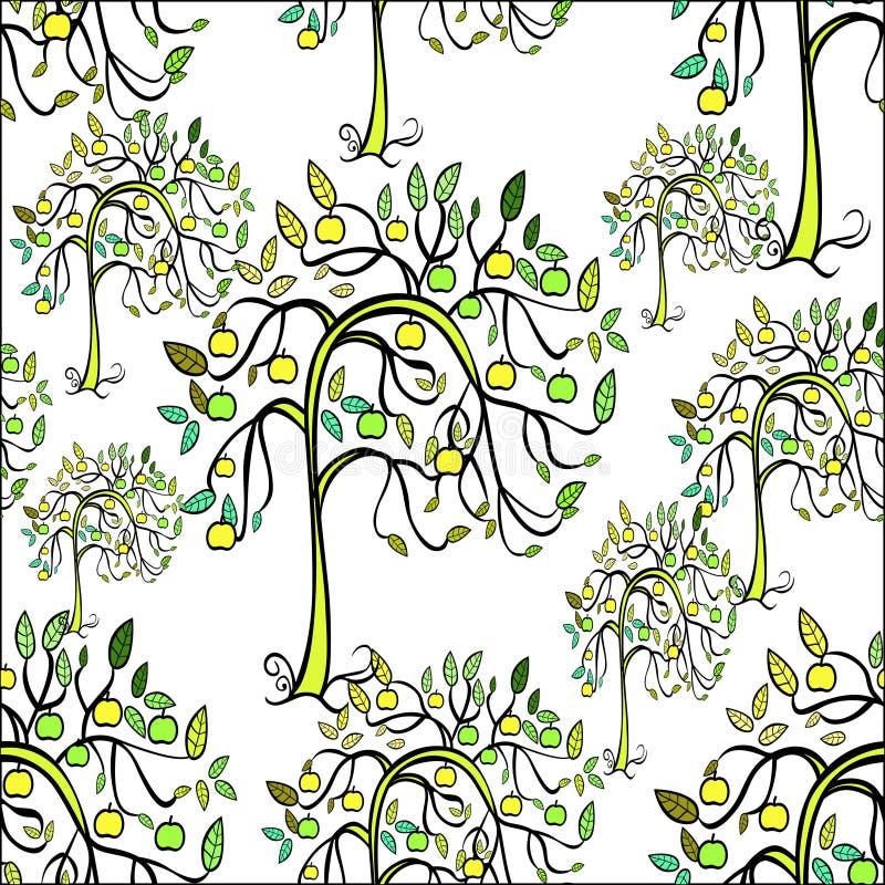 Naadloos patroon van appelboom Vector illustratie stock illustratie