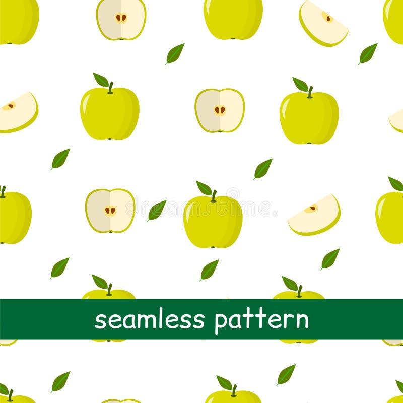 Naadloos patroon van appelgroen en blad op een witte achtergrond vector illustratie