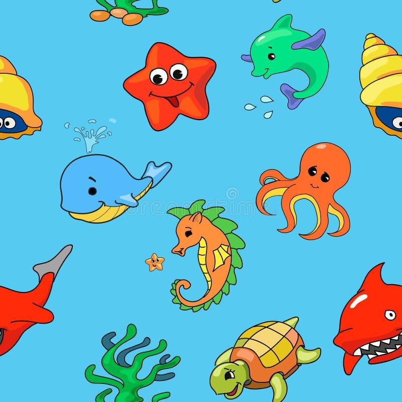 Naadloos patroon van beeldverhaal overzeese schepselen, vector stock illustratie