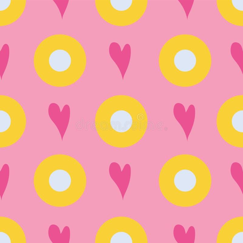 Naadloos patroon van bellen en harten op een roze achtergrond royalty-vrije illustratie
