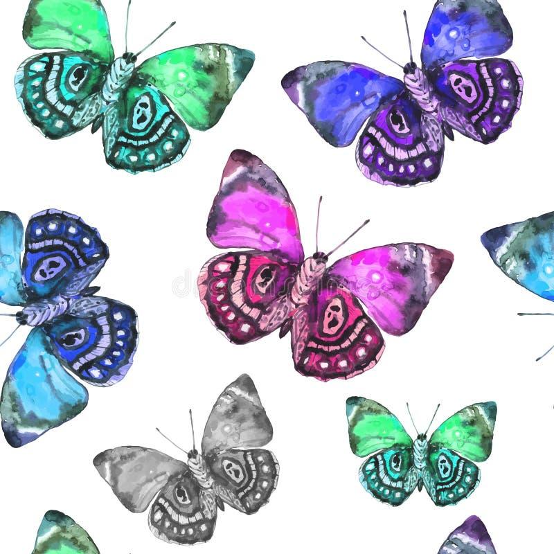 Naadloos patroon van bevlekte mooie waterverfvlinders Vec stock illustratie