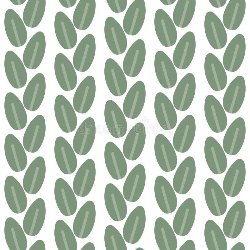Naadloos patroon van bladeren op een witte achtergrond Vector royalty-vrije illustratie