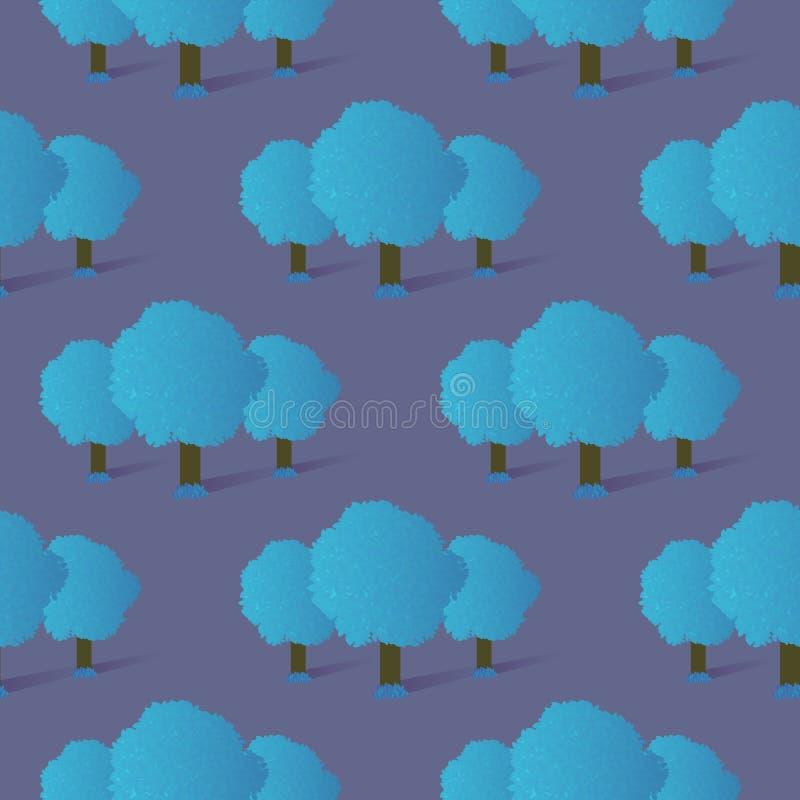 Naadloos Patroon van Blauw Gradiëntbomen en Gras royalty-vrije illustratie