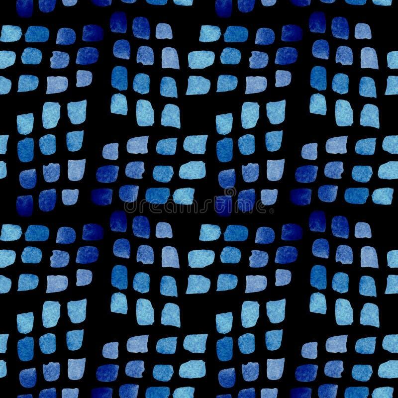 Naadloos patroon van blauwe borstelvlekken Waterverfachtergrond op zwarte wordt geïsoleerd die stock illustratie
