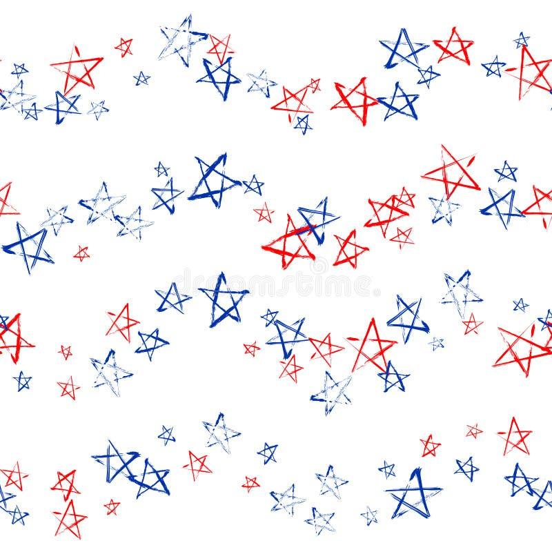 Naadloos patroon van blauwe rode witte sterren en strepen grunge stock illustratie