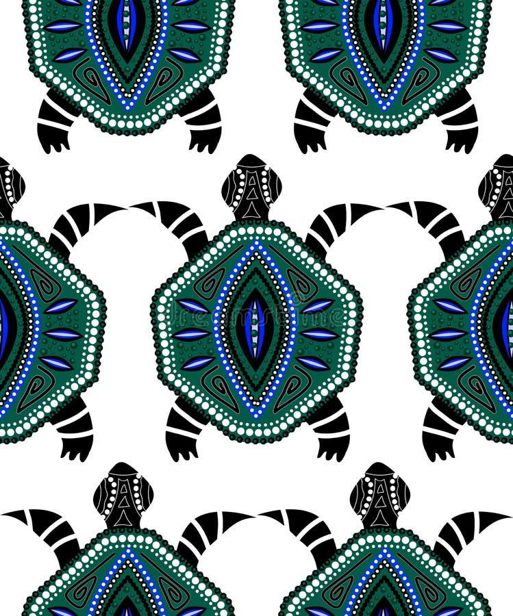 Naadloos patroon van blauwe schildpadden vector illustratie