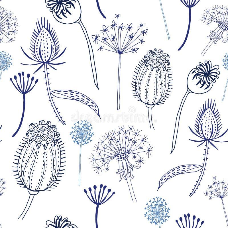 Naadloos patroon van blauwe wilde bloemen en kaarden vector illustratie